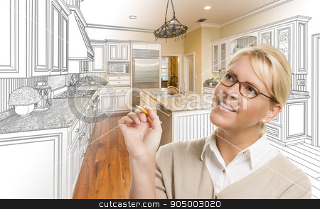 Woman With Pencil Over Custom Kitchen Drawing and Photo Combinat stock photo, Creative Woman With Pencil Over Custom Kitchen Design Drawing and Photo Combination. by Andy Dean