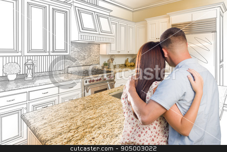 Young Military Couple Inside Custom Kitchen and Design Drawing C stock photo, Young Military Couple Looking Inside Custom Kitchen and Design Drawing Combination. by Andy Dean