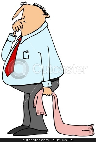Businessman sucking his thumb stock photo, Illustration depicting a businessman sucking his thumb and dragging his comforter blanket. by Dennis Cox