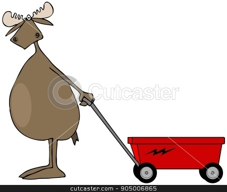 Bull moose pulling a red wagon stock photo, Illustration depicting a bull moose pulling an empty red wagon. by Dennis Cox