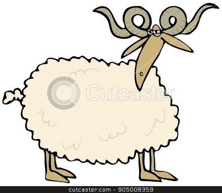 Curly horned sheep stock photo, Illustration depicting a sheep with large curly horns. by Dennis Cox