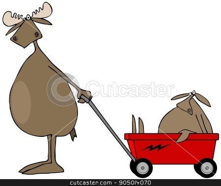 Moose pulling baby in wagon stock photo, Illustration depicting a bull moose pulling his baby in a red wagon. by Dennis Cox