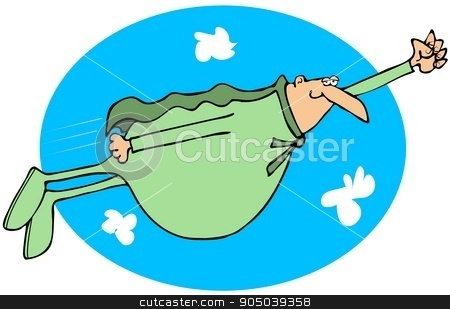 Chubby superhero flying in the sky stock photo, Illustration of a chubby superhero flying in the clouds. by Dennis Cox