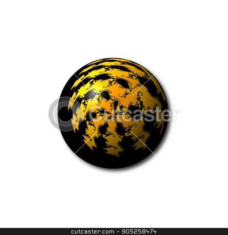 Black Yellow Abstract Globe stock photo, A black and yellow abstract fractal globe on white background. by Henrik Lehnerer