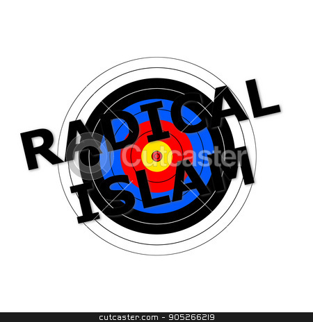 Radical Islam Target stock photo, Target background with the writing Radical Islam over it. by Henrik Lehnerer