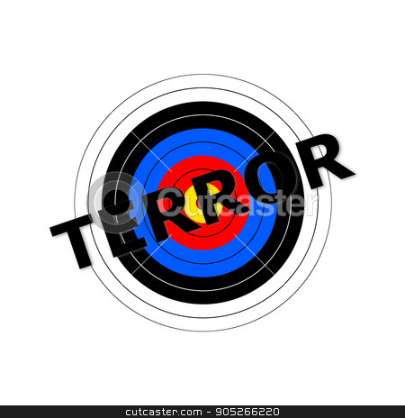 Terror Target stock photo, Target background with the writing Terror over it. by Henrik Lehnerer