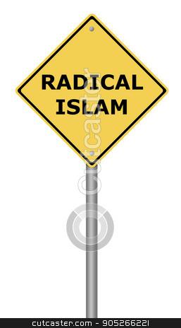Radical Islam Warning Sign stock photo, Yellow warning sign with the text Radical Islam. by Henrik Lehnerer