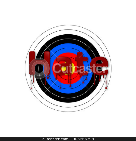 Target Bloody Hate stock photo, Target background with a bloody Hate writing over it. by Henrik Lehnerer