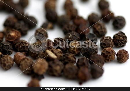Black Pepper stock photo, Group of black pepper corns on white background. by Henrik Lehnerer