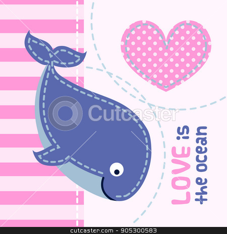 Card with cute cartoon whale in patchwork style.