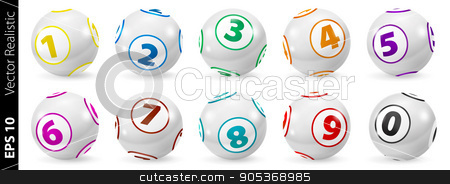 Set of Lottery Colored Number Balls 0-9