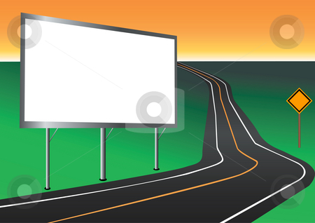 Billboard with road illustration stock photo, Billboard with road illustration by John Teeter