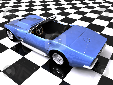 3D Rear sports car on showroom stock photo, 3D Blue sports car on checkered showroom background by John Teeter