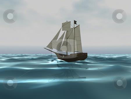 3D Pirate ship on Ocean stock photo, 3D Pirate ship on Ocean by John Teeter
