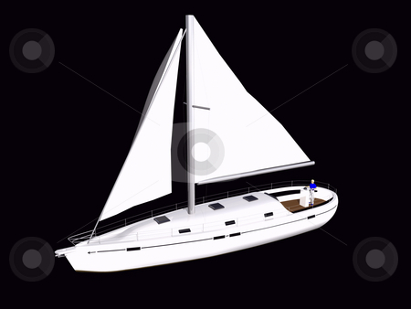 3D Sailboat front side view stock photo, 3D Sailboat front side view on isolated black background by John Teeter