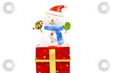 Snowman figurine stock photo, Snowman figurine isolated on white by John Teeter
