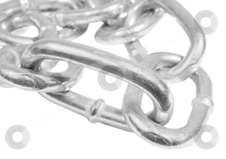 Silver steel chain stock photo, Silver steel chain macro by John Teeter