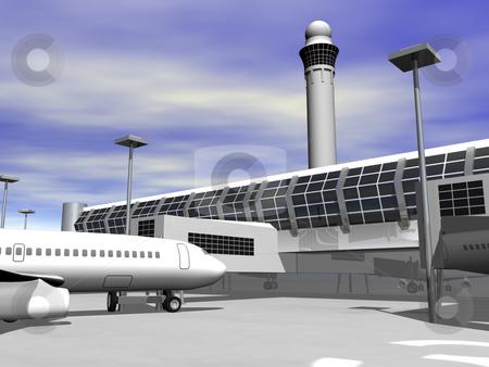 3d Airport terminal stock photo, 3D airport terminal close up by John Teeter