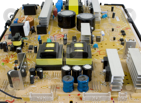 Isolated Mother board stock photo, Mother board electronic on isolated background by John Teeter