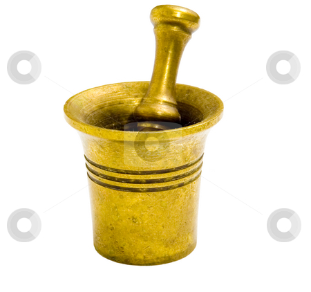 Mortar and Pestle stock photo, Mortar and pestle on isolated background by John Teeter