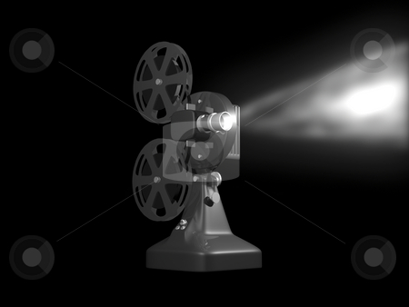 Grey film projector stock photo, Grey film projector playing 3D render on black background by John Teeter