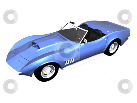 3D Blue sports car white stock photo, 3D Blue sports car front side view on black by John Teeter