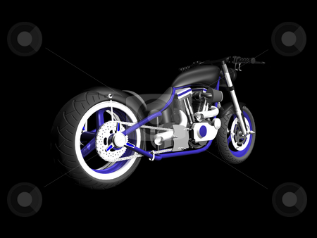 3D motorcycle on black 2 stock photo, 3D Motorcycle on black background 2 by John Teeter