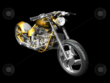 3D Motorcycle front side view stock photo, 3D Motorcycle front side view on black by John Teeter