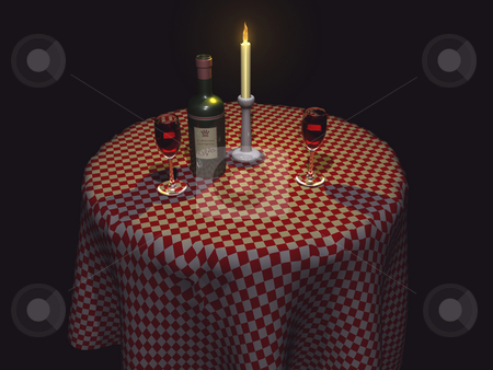 3D Restaurant table dim stock photo, 3D Restaurant table with wine by John Teeter