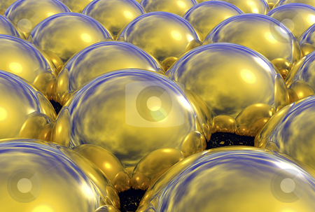 3d Reflective Gold Spheres stock photo, 3 Dimensional reflective golden spheres by John Teeter