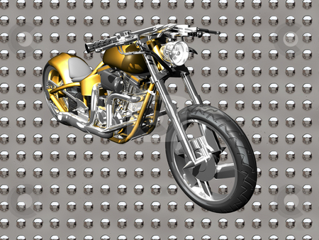 3D Motorcycle  stock photo, 3D Motorcycle on chrome background by John Teeter