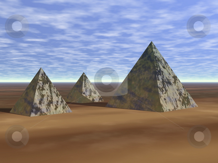 3D Pyramids in sand stock photo, 3D Pyramids in sand render by John Teeter
