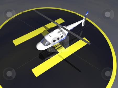 3D Helicopter stock photo, 3D Helicopter on tarmac by John Teeter
