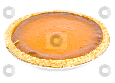 Pumpkin pie stock photo, Whole pumpkin pie on white by John Teeter