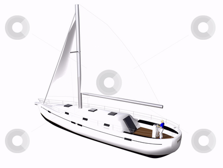 3D Sailboat rear side view stock photo, 3D Sailboat side rear view on isolated white background by John Teeter