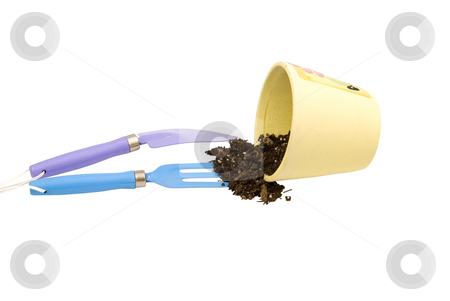 Gardening pot with tools stock photo, Gardening pot with tools by John Teeter