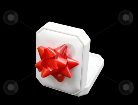 White jewelry gift box stock photo, White jewelry gift box with red bow by John Teeter