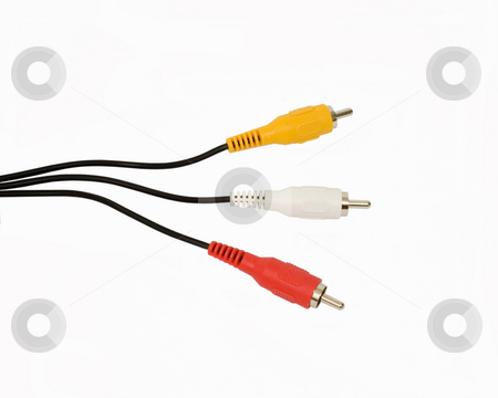Audio Video Cables stock photo, Composite audio video cables on isolated background by John Teeter
