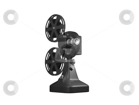 Grey film projector stock photo, Grey film projector on white background by John Teeter