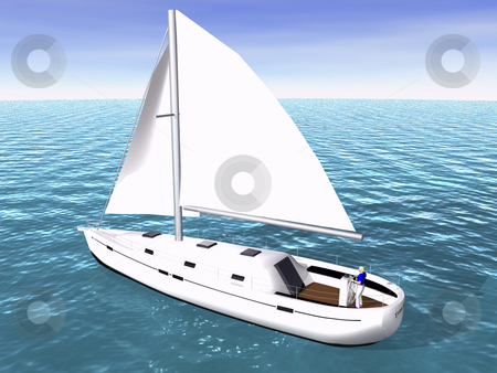 3D Sailboat on sea stock photo, 3D Sailboat on sea rear view by John Teeter