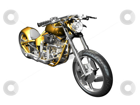 3D Motorcycle front side view stock photo, 3D Motorcycle front side view isolated by John Teeter