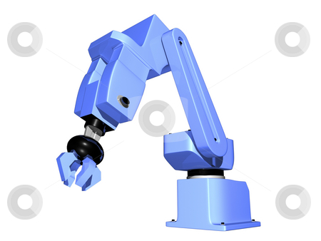3D Robotic Arm isolated stock photo, 3D Robotic arm isolated on white background by John Teeter
