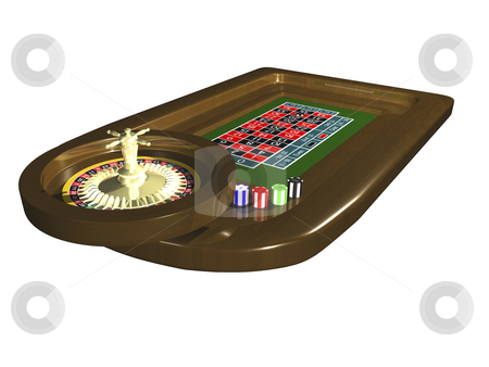3D Roulette table stock photo, 3D roulette table isolated on white background by John Teeter