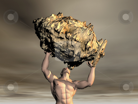 3D Man lifting rock stock photo, 3D man lifting rock with sky by John Teeter