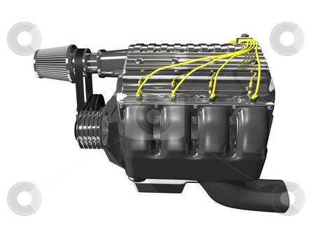3d turbo engine side stock photo, 3d turbo engine side view on white background by John Teeter