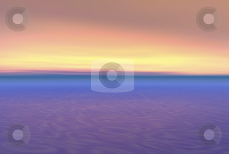 Beautiful ocean sunset 3d stock photo, Beautiful ocean sunet illustration in 3d render by John Teeter