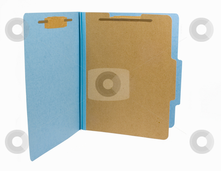 Blue folder stock photo, Blue folder isolated on white background by John Teeter