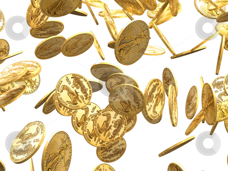 Gold Coins falling on white background stock photo,  by John Teeter