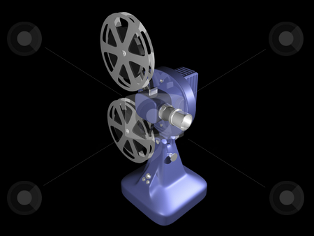 Blue film projector  stock photo, Blue film projector on black background 3d Redner by John Teeter