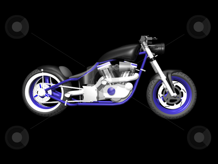 3D Motorcycle on black 3 stock photo, 3D Motorcylce on Black background 3 by John Teeter